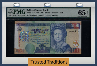 TT PK 71b 2006 BELIZE 100 DOLLARS QUEEN ELIZABETH II PMG 65 EPQ GEM UNCIRCULATED