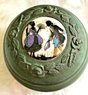 Music Box 1940's Vintage Round Powder Puff Victorian Couple  Plays Rigoletto