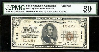 1929 PMG VF30 U.S. San Francisco, California $5 Nation Currency Note AE862