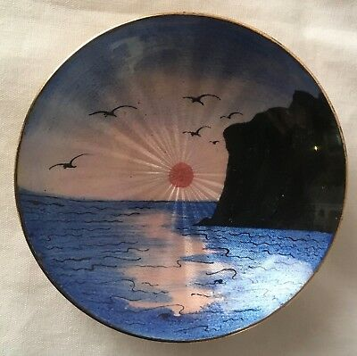 Solid Sterling Silver & Guilloche Enamel Aksel Holmsen Norway Seascape Pin Dish