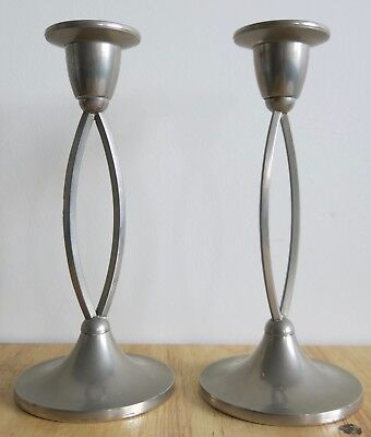 Pair Of Elegant Deco Style Silver Plate Ianthe Candlesticks
