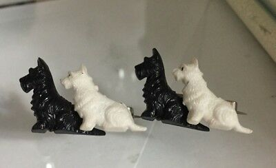 VTG/Antique Pair of Black and White Scottie Terrier Pins/Brooches - England