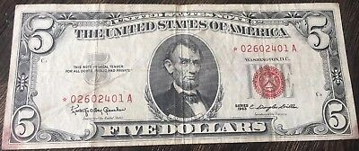 U.S. $5 United States Note 1963 STAR Banknote - Red Seal