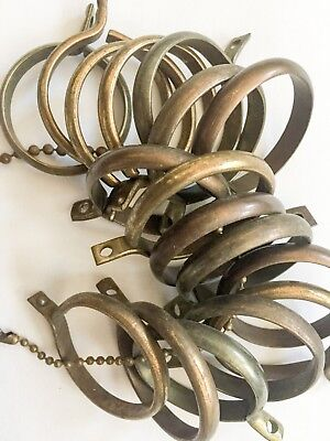 Vintage Curtain Rod Rings | Antique Brass Drapery Rings Small | 17 pcs