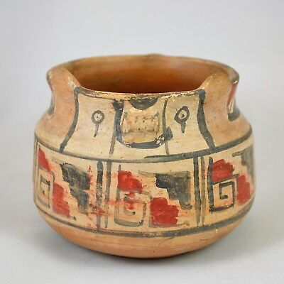Native American Indian Pottery Pot Southwest Animal Shape (Bear?) Red Black 4""