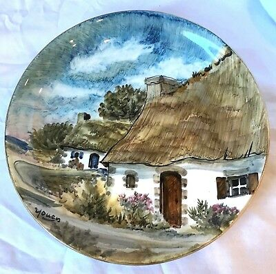 'Youen' Yves-Alain Pleuven Brittany Bretagne Hand Painted Plate Thatched Cottage