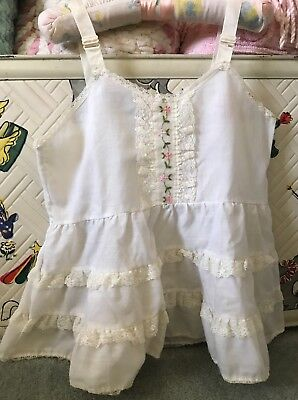 Vintage Girls Full Slip Prob 24 Mos. White W/lace Trim, Pink & Green Embroidery