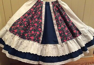 Square Dance Skirt—Navy, Bright Pink and White