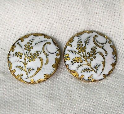 Vintage Antique White Enamel French Champleve Buttons x2