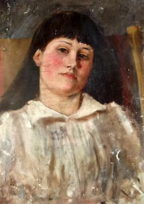British Antique 19th Century Aesthetic Oil Portrait of A Young Girl Restoration