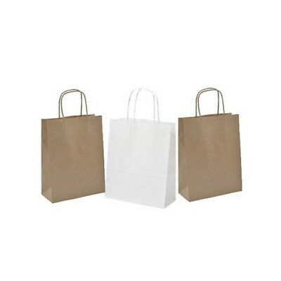 Twisted Handle Ribbed Brown or White Paper Carrier Gift Bags 45cm x 48cm x 17cm