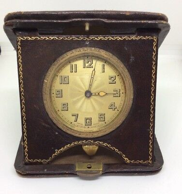 Delightful Art Deco Early Travel Clock In Leather Case.  Repair / Restoration