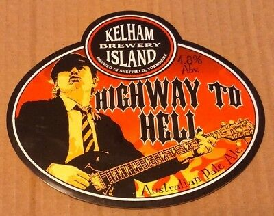 Beer pump clip badge KELHAM ISLAND brewery HIGHWAY TO HELL ale AC/DC angus young