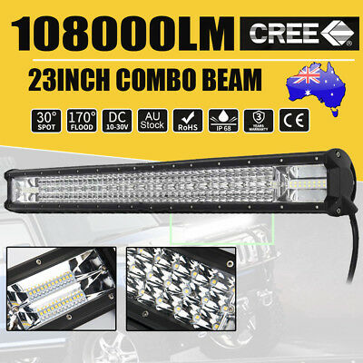 23inch CREE LED Light Bar SPOT FLOOD Offroad 4x4 Driving Work Bars 12V Tri-Rows
