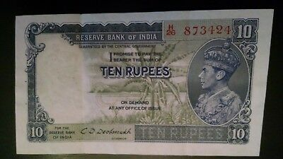 Reserve Bank Of India King George Vi 1937 10 Rupees Banknote Xf/au Two Pinholes