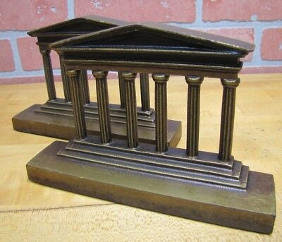 Antique Cast Iron TEMPLE Bookends Six Columns Detailed Decorative Art Book Ends