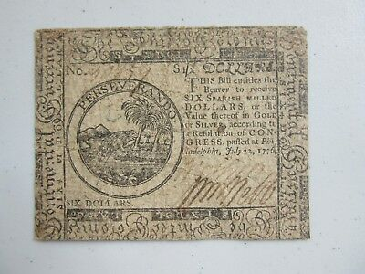 1776 SIX DOLLAR  COLONIAL NOTE (July 1776) Ex cond.
