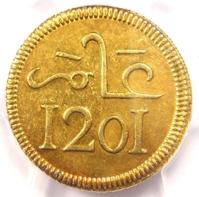 1787 (AH1201) Morocco Muhammed III Pattern 10 Mithquals Coin - PCGS AU Details!