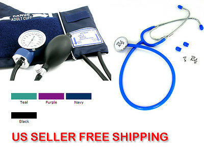US Seller BP Blood Pressure CUFF and Economy Stethoscope Kit- Color NAVY #300