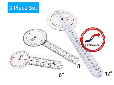 "US Seller FAST Shipping Goniometer Set 2 - 3 Pieces 12"" , 8"" , 6"" #429"