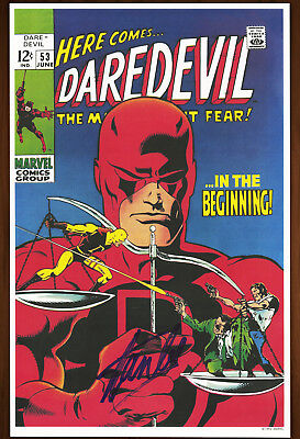 Stan Lee Signed Autographed Daredevil #53 poster, art print 1993 Yellow Costume