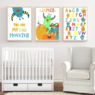 Personalised Name Nursery Art Print Set, Cute Monster Baby Boy Room Modern Decor