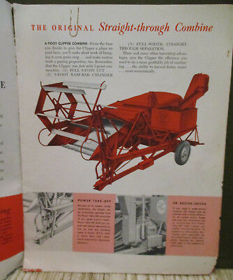 1950s MASSEY-HARRIS CLIPPER COMBINES Sales Catalog-Farm Implement Advertising-Ag