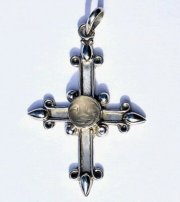 Vintage Sterling Silver Cross Pendant Moonstone with Carved Face