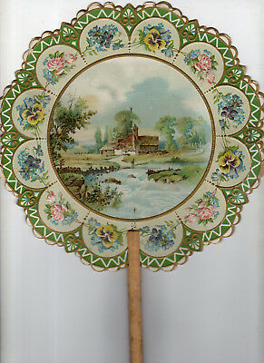 Country Home Bordered By Flowers Advertising Fan For W.C. Burbank Clothing Of NH