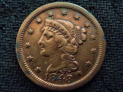 A 1848 Braided Hair Large Cent Very Sweet Old Coin!