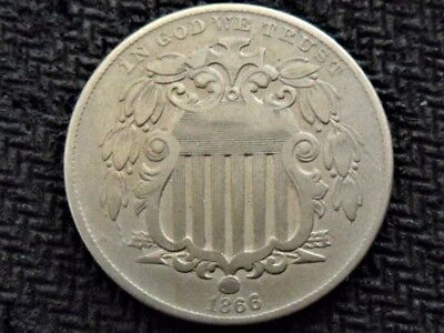 A 1866 W/ Rays Type Better Date Shield Nickel Great Example
