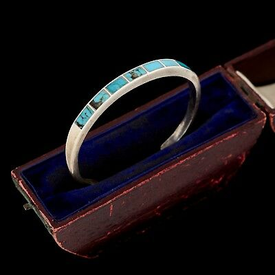 Antique Vintage Native Sterling Silver Zuni Inlay Pawn Turquoise Cuff Bracelet