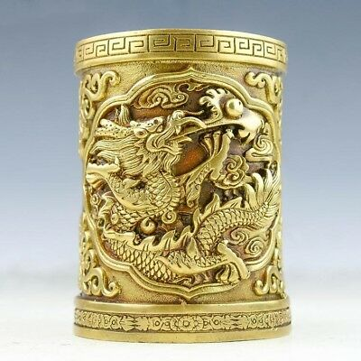 Old Chinese brass hand-carved fine Dragon Pen container statue