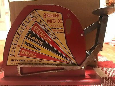 Vintage Style Brower Mfg. Co. JIFFY WAY Quincy ILL Tin Poultry Egg Scale
