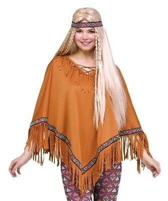 Brown Poncho Pocahontus Costume Native American Indian Hippie Fringe Headband