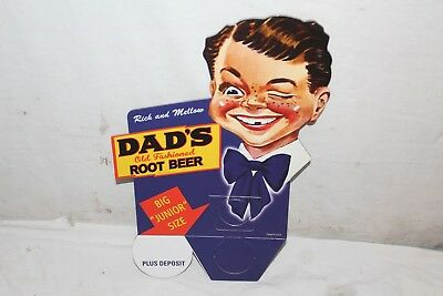 "Vintage Dad's Root Beer Soda Pop Bottle Topper 11"" Sign~Nice"