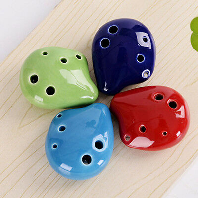 Handmade Kid's Toy Educational Flute Soprano Ocarina C Key 6 Hole Ceramic