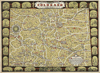 1930 Clason's Colorado Road Map Pictorial History Art Poster Print Wall Decor