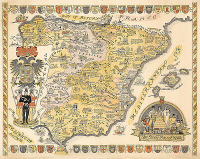 Historic Pictorial Story Map of Spain Wall Art Poster Print Decor Vintage Style