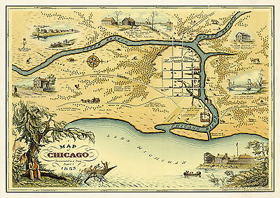 1933 Pictorial Map of Chicago 1833 Vintage History Wall Art Poster Print Decor