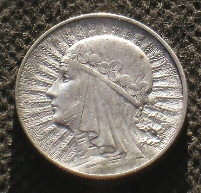 OLD SILVER COIN OF POLAND 5 ZLOTY 1932 JADWIGA SECOND REPUBLIC Ag (C)