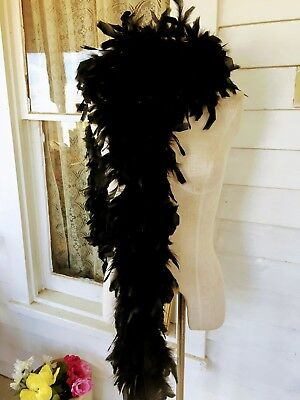 Vintage Black Feather Boa 6ft Long Fluffy excellent Clean condition