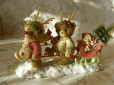 Cherished Teddies Ronnie, Ruby & Robert 4005869 Holiday Bears With Sleigh  New