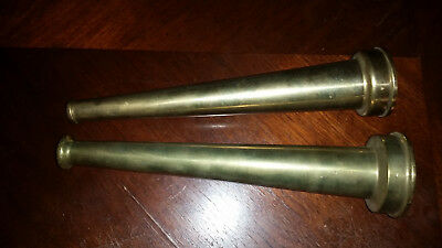 Set Of 2 Vintage Brass Fire Hose Nozzles
