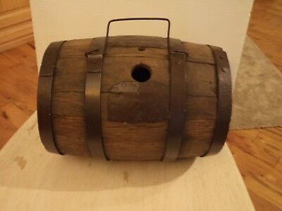 Antique Primitive Wood Water Whiskey Barrel With Handle Old Metal Patch Repair