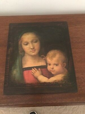 Lovely Madonna And Child Wooden Wall Hanging