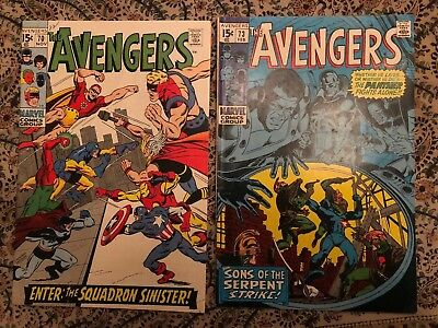 Avengers 70, 73, 80 - Silver/Bronze Age stories - mid to high grade