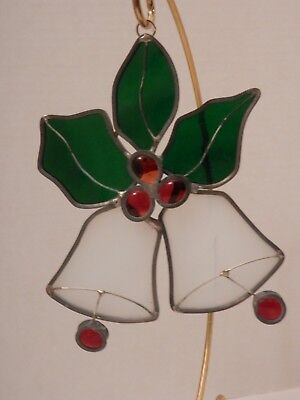 Vintage Leaded Stained Glass Sun catcher-Two Bells with Holly leaves & berries