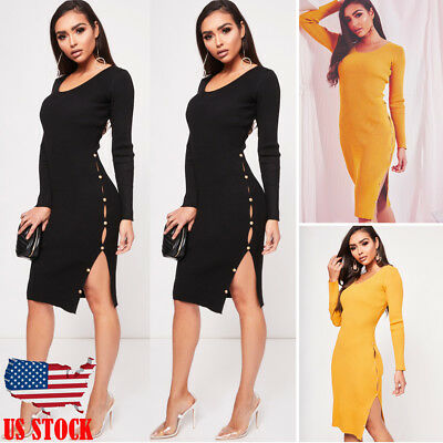 Fashion Women Long Sleeve Bodycon Casual Party Evening Cocktail Mini Dress USA