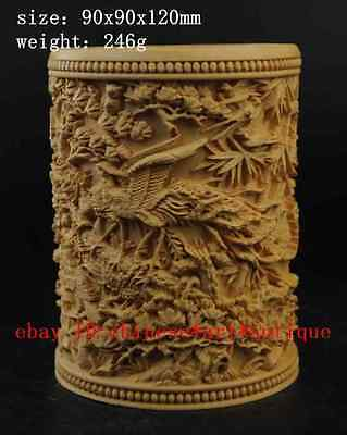 "China Boxwood pure Hand-Carved Phoenix Penoy Flower brush pot ""百鸟朝凤"" e01"